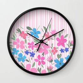 Floral Spring and Stripes Pink Wall Clock
