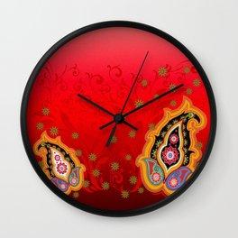 red paisley border Wall Clock