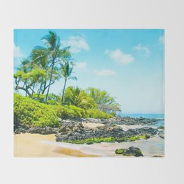 Mokapu Beach Pacific Ocean Tropical Beauty Maui Hawaii Throw Blanket