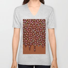 Dripping Melted chocolate Glaze with sprinkles Unisex V-Neck