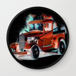 Red Street Rod By Annie Zeno  Wall Clock