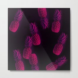 Néon Pineapple Metal Print