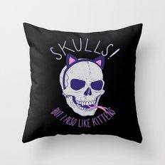 Skulls and Kittens Throw Pillow
