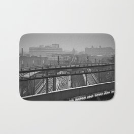 Tales of a Subway Train in Black and White Bath Mat