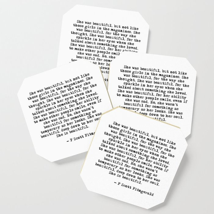 She Was Beautiful Fitzgerald Quote Coaster By Quoteme Society6