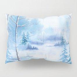 Winter Landscape Frozen Pond Pillow Sham