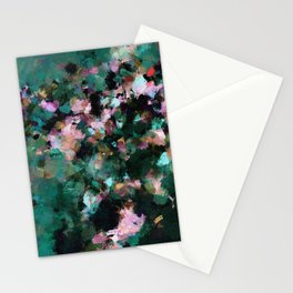 Contemporary Abstract Wall Art in Green / Teal Color Stationery Cards