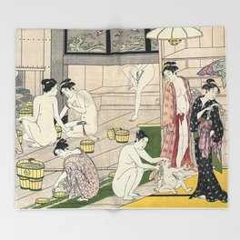Interior of a Bathhouse by Torii Kiyonaga - Japanese Woodblock Throw Blanket