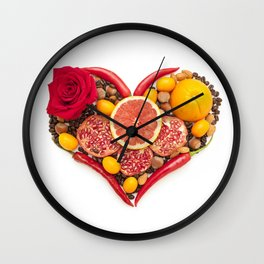 Fruity heart Wall Clock