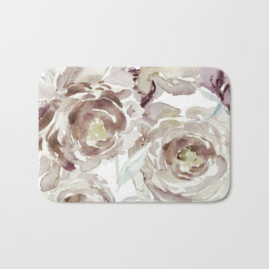 Earthy Painterly Floral Abstract Bath Mat