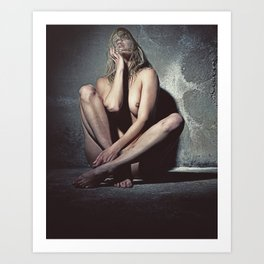Naked woman in a dark cellar. Image finished with old film grain. Art Print