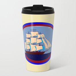 A Nautical Scene with Clipper Ship with Taupe Background Travel Mug