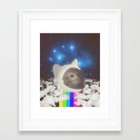 space cat Framed Art Prints featuring Space Cat by OMG Catz