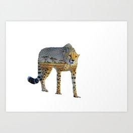 Cheetah Double Exposure Art Print