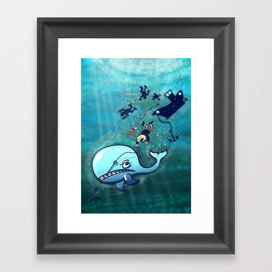 Whales are Furious! Framed Art Print