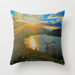 Columbia River Gorge, Sunset Throw Pillow