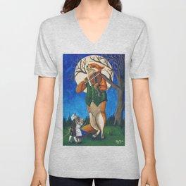 The Fiddler Fox by Mary Bottom Unisex V-Neck