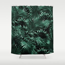 Tropical Palm Leaf Jungle Night #1 #tropical #decor #art #society6 Shower Curtain