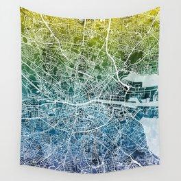 Dublin Ireland City Map Wall Tapestry