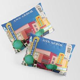 Ann Arbor, Michigan - Skyline Illustration by Loose Petals Pillow Sham