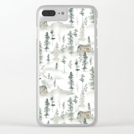 Hand painted brown forest green watercolor wood cabin trees Clear iPhone Case