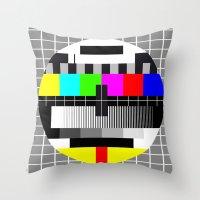 tv Throw Pillows featuring TV by Les Hameçons Cibles