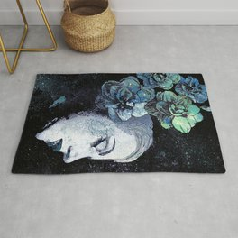 Obey Me: Blue (graffiti flower woman portrait) Rug