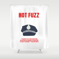 movie poster Shower Curtains featuring Hot Fuzz Movie Poster by FunnyFaceArt
