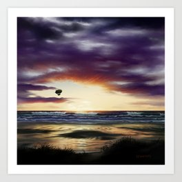 Airship Over the Pacific at Sunset Art Print