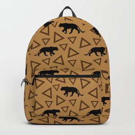 Wild African walking lioness silhouettes and abstract triangle shapes. Stylish classy warm brown latte color seamless retro vintage geometric animal nature pattern. Backpack