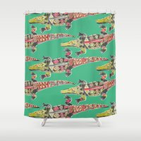 crocodile Shower Curtains featuring crocodile green by Sharon Turner