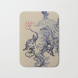 Rudolf the Red-Nosed Poodle Bath Mat