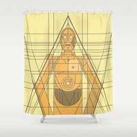 c3po Shower Curtains featuring C3PO Deco Droid by modHero