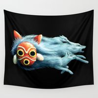 princess mononoke Wall Tapestries featuring Princess Mononoke by Lara Frizzell