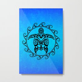 Black Tribal Turtle In Maori Sun Symbol Metal Print