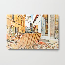 L'Aquila: historic center street earthquake with rubble Metal Print