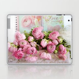Shabby Chic Cottage Pink Floral Ranunculus Peonies Roses Print Home Decor Laptop & iPad Skin