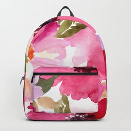 Watercolor Flowers Pink Fuchsia Backpack