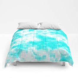 Bubblegum blue cloud pixels Comforters