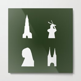 Delft silhouette on green Metal Print