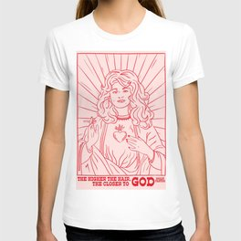 Dolly Virgin Mary A4 Art Print  Religious Quote Country Music Portrait  Red and pink illustration 9 till 5 Jolene T-shirt
