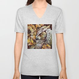 Owl among the Poppies Unisex V-Neck