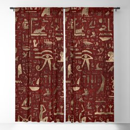 Ancient Egyptian hieroglyphs - Red Leather and gold Blackout Curtain