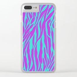 Purple and Green Zebra print Clear iPhone Case