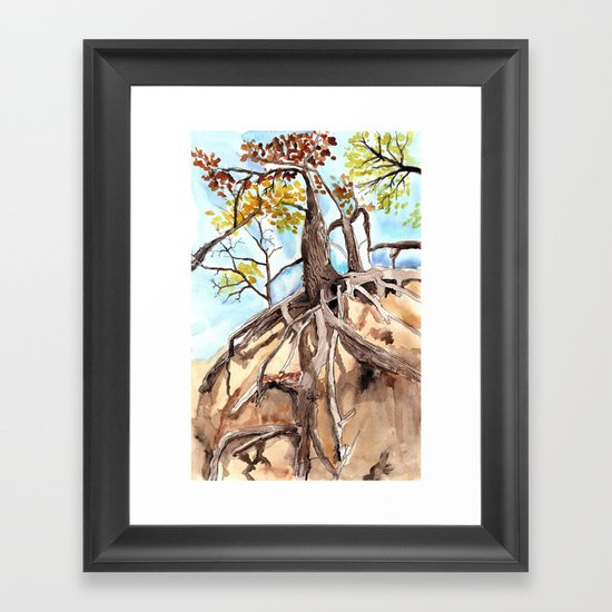 road cut gold Framed Art Print