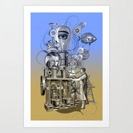 Machine vintage collage Art Print