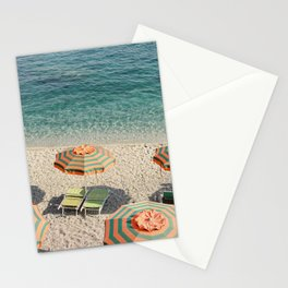 Summer in Italy on film | Beach with umbrella's in Monterosso Al Mare, Cinque Terre | Fine Art Travel Photography Stationery Cards