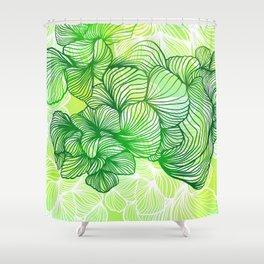Green Flora Shower Curtain