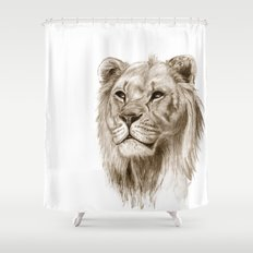 A Lion :: Without Pride Shower Curtain