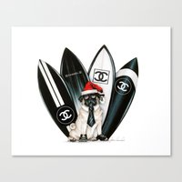 karl lagerfeld Canvas Prints featuring Santa Pug Lagerfeld  by LATIN for GLORY